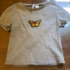 Grey butterfly shirt